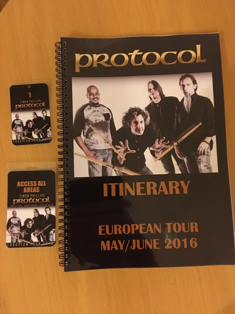Simon Phillips Tourbook, Baggage Tags and Access passes Protocol tour 2016